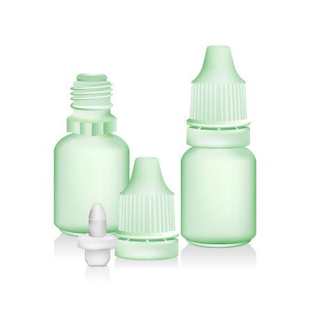 eye green: botella cuentagotas verde aislado en el fondo blanco