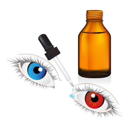 cough syrup: illustration of glass  bottle with pipe dropper conjunctivitis