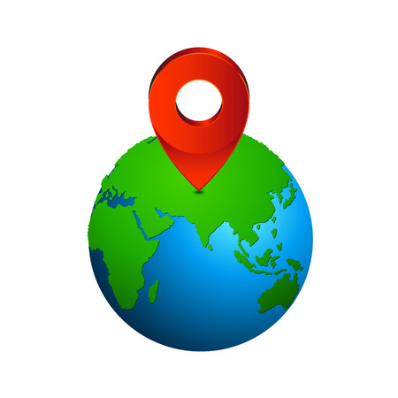 Map pin pointer icon on earth  Europe and Asia vector  Vector