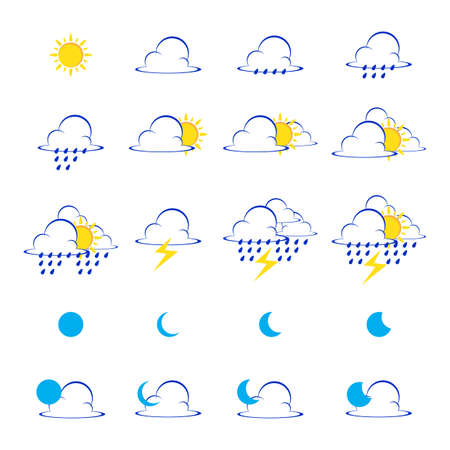 Vector of Weather icons set illustration. Vector