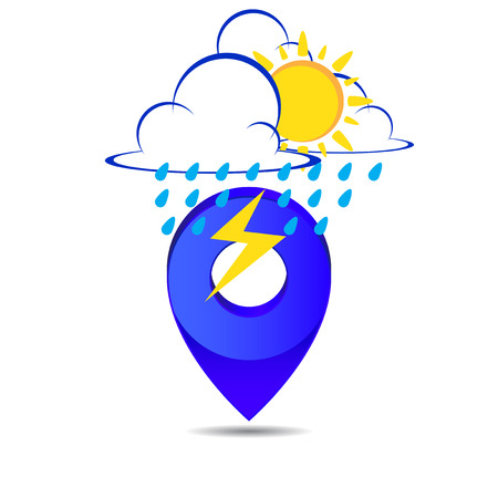 Weather pin pointer icon symbol vector on white background Vector