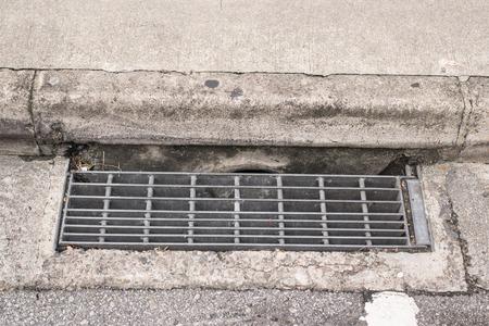sewer grate  water and rain drain. photo