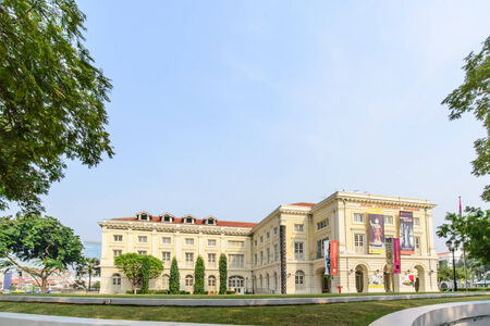 SINGAPORE - OCT 19, 2014: Asian Civilisations Museum in Singapore. Collection includes artifacts reflecting the cultural background of Singapore including ceramics, basketry, and textiles.