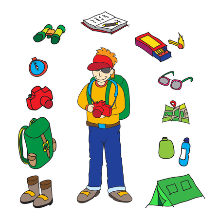 Backpacker and accessories set isolated vector illustration. Vector