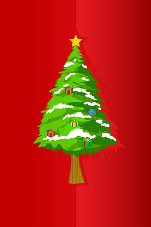 Christmas tree on greeting card red paper Vector