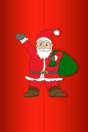 Santa Claus on Merry Christmas Card red paper Vector