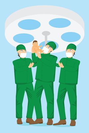 sala parto: squadra ostetrico e medico in possesso di un bambino in sala parto.