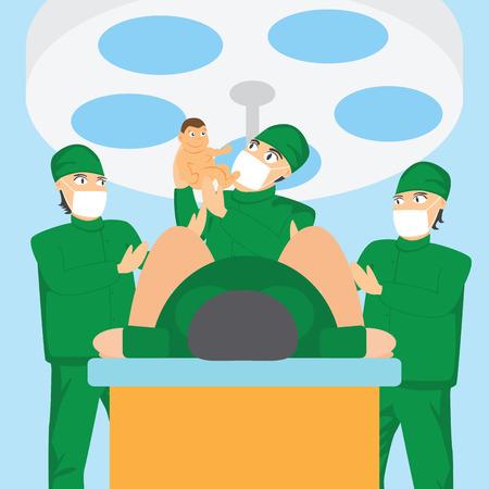 operating room: equipo obstetra y el m�dico sosteniendo a un beb� en la sala de partos.