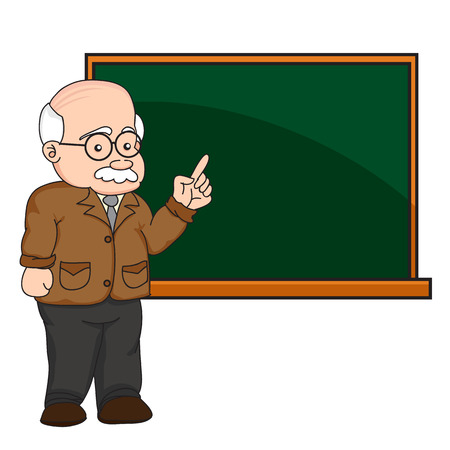 illustration of a professor or teacher at a chalkboard vector. 向量圖像