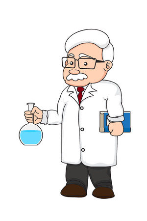 illustration of a chemistry or scientist on white background isolated Vector