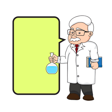 illustration of a chemistry or scientist with text box on white background. Vector