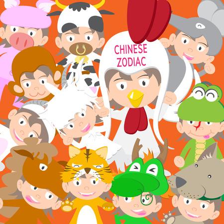 year of rooster: Zodiaco chino mu�eca ni�o animal, a�o de gallo ilustraci�n vectorial