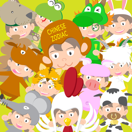 Chinese zodiac animal kid doll, year of monkey vector illustration Vector