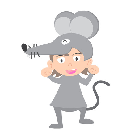 year of the rat: illustration of baby in a rat fancy dress costume vector on white background.