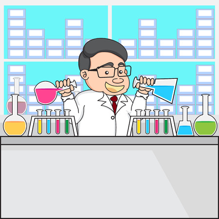 illustration of a chemistry or scientist in laboratory experiment vector Vector