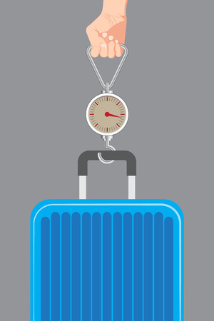steelyard: illustration of Hand luggage measurement using steelyard weight on gray background vector.