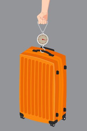 oversized: illustration of Hand luggage measurement using steelyard weight on gray background.