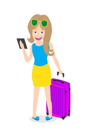 vrouw met tablet: Slimme vrouw die tablet met bagage op een witte achtergrond. Stock Illustratie