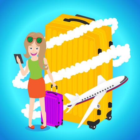 vrouw met tablet: Slimme vrouw die tablet met bagage vliegtuig rond grote bagage op een blauwe achtergrond