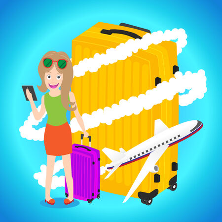 smart woman: Smart woman holding tablet with luggage airplane flying around big baggage on blue background Illustration