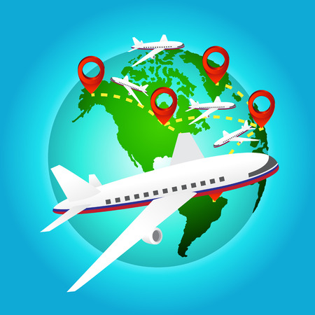 airplane travels around the world with pin icon Vector