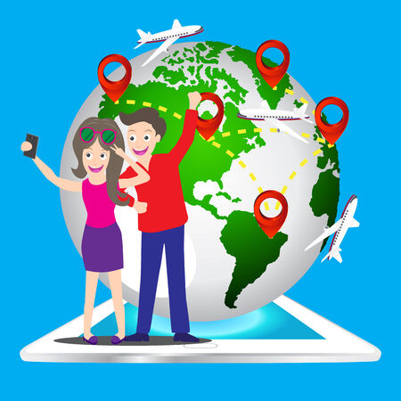 young tourist couple using a smart phone to take a selfie picture of themselves with world map pin icon Vector