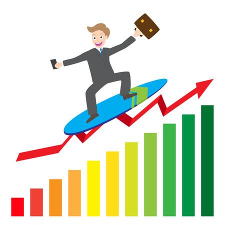 turnaround: illustration of  businessman surfing  business arrow wave on chart vector.