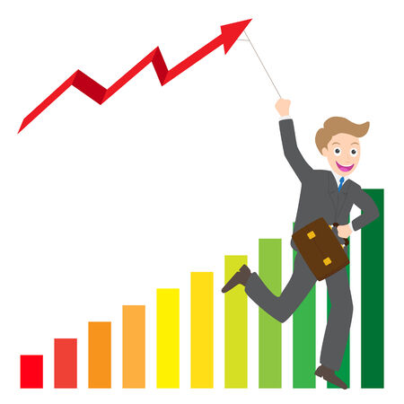 turnaround: Illustration of businessman running with business arrow wave kite on chart vector. Illustration