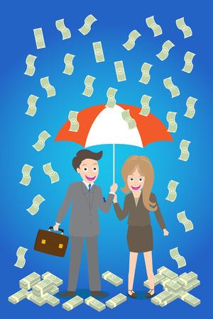 sotto la pioggia: giovane coppia sorridente con ombrello in piedi sotto la pioggia di denaro.