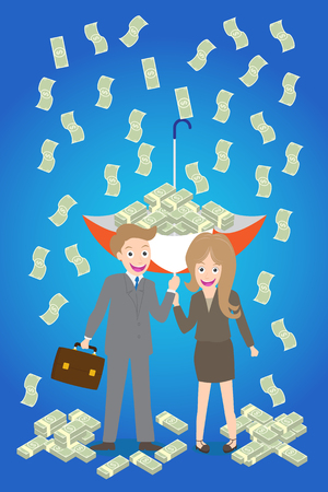 young smiley couple with upturned umbrella standing under money rain.