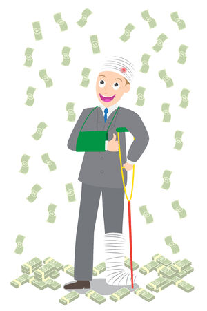 injured businessman in bandages and crutches with pile of dollar and falling money vector on white background. Illustration