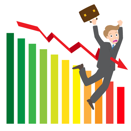 spanned: illustration of arrow wave statistics on chart kill businessman vector on white background
