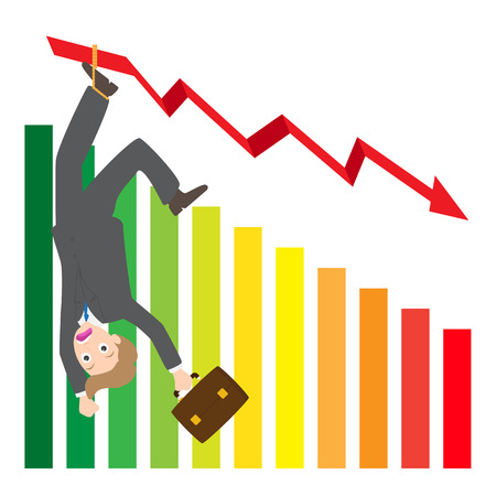 spanned: Illustration of hanging businessman on arrow wave statistics on chart vector on white background