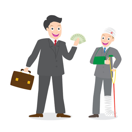 Insurance agent paying compensation money to injured businessman on white background