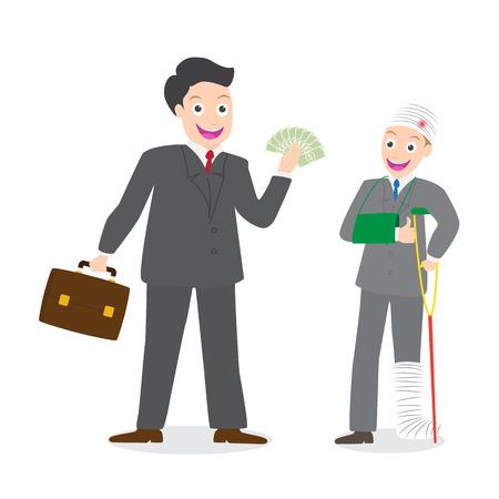 Versicherungsvertreter Anspruch auf Entschädigung Geld für verletzte Geschäftsmann auf weißem Hintergrund