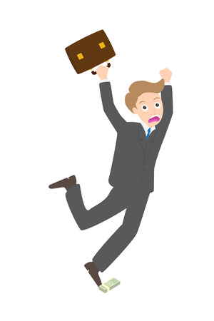 stumble: Illustration of businessman stumble the money dollar on white background