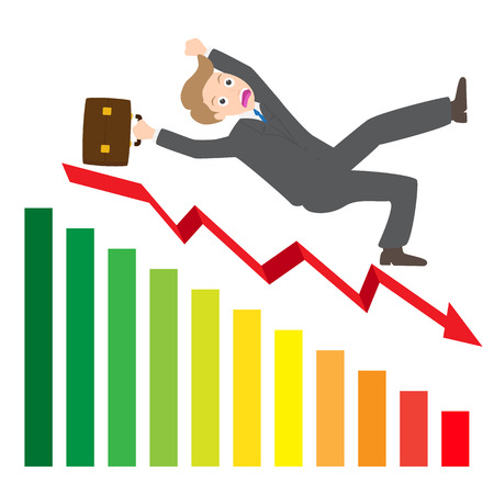 spanned: Illustration of a businessman Slipping Down a statistic arrow vector on white background