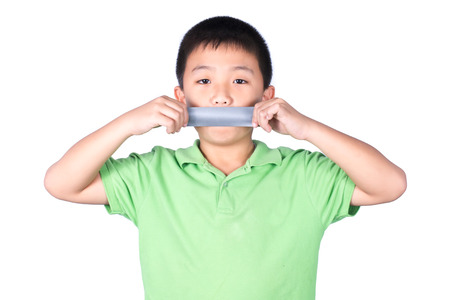 abduct: Little boy with wrapping adhesive tape around mouth, rights of a child, isolated on white background Stock Photo