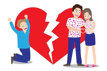 corazon roto: Hombre triste ver a los pares del amor con el fondo de la forma del coraz�n roto en concepto de ser roto vector del coraz�n