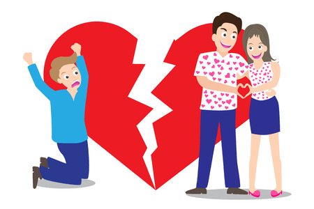Sad man seeing love couple with broken heart shape background in concept of being broken heart vector