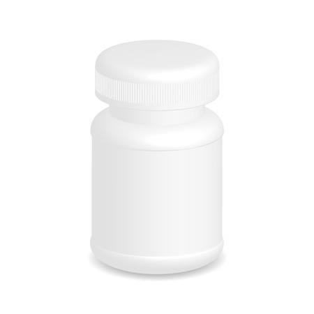 White plastic medical container isolated on white background Vector