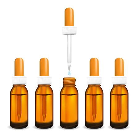 cough syrup: illustration of glass  bottle with pipe dropper vector isolated.