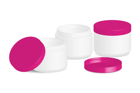 Cosmetic packaging, cream, powder or gel jar with cap, vector on white background Vector