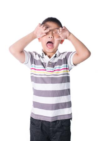 retardation: Asian mentally retarded boy problem sad and crying isolated on white background.