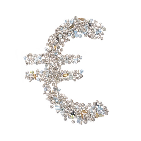 euro screw: EUR symbol made from nuts and bolts, isolated on white background.