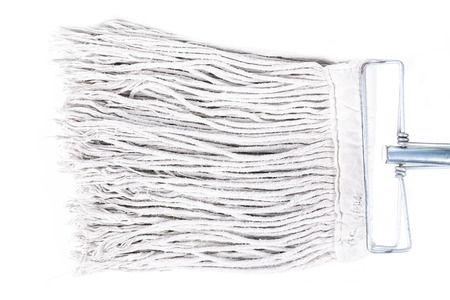 sanitizing: Old dirty mop or swab household, Isolated on white background.