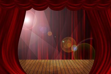 grandiose: Theater stage red curtains show spotlight background.