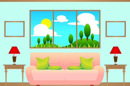 mountain view: illustration of interior living room with sofa and table, sky, mountain, cloud, sun and tree view