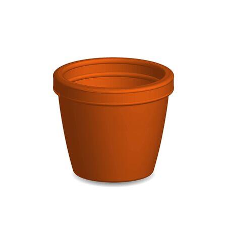earthenware: Illustration of flower pot,vector isolated on white background.
