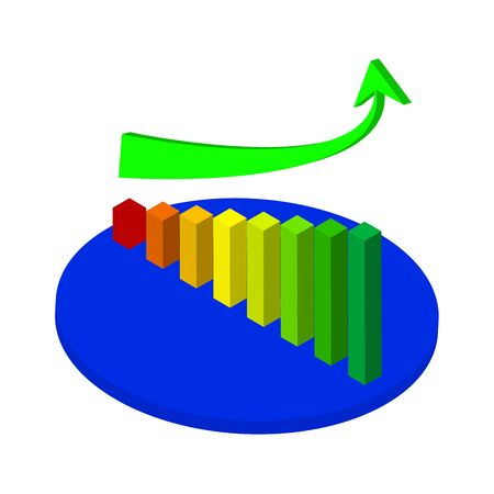 analyst: Illustration of Business graph and chart with going up arrow on stage Illustration